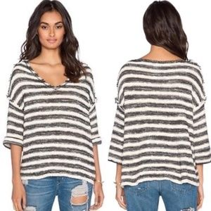 Free People Oversized Striped Distressed Sweater